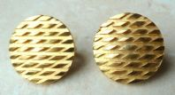 Vintage Crown Trifari Round Diamond Detailed Clip On Earrings.